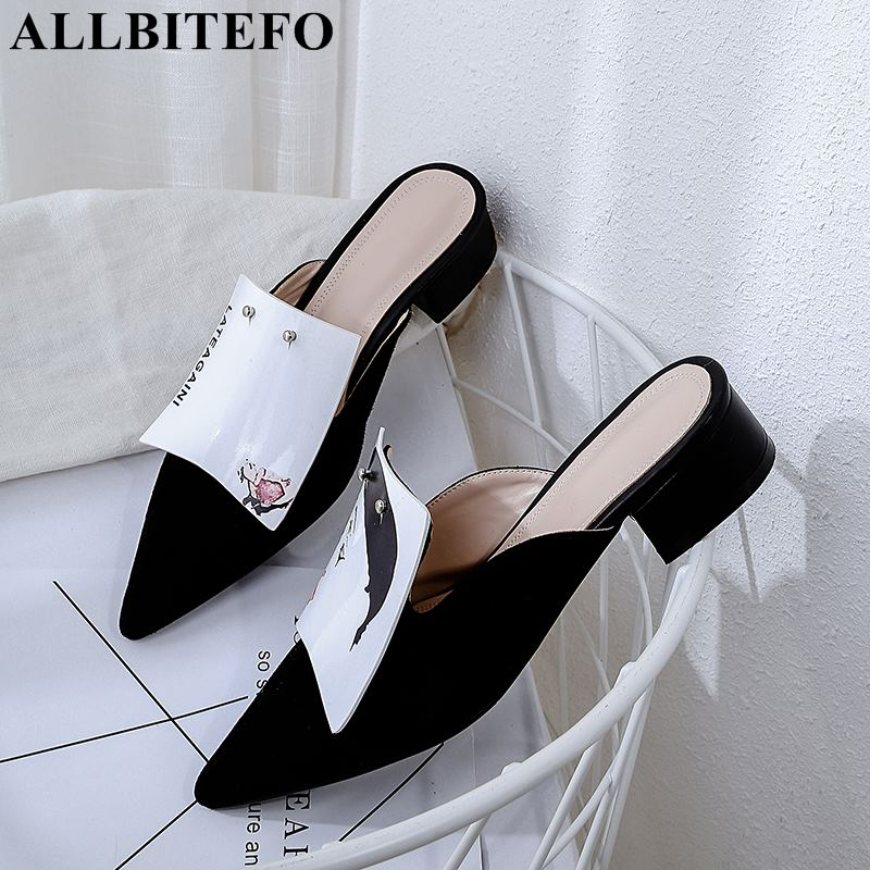 ALLBITEFO new fashion sexy genuine leather pointed toe thick heel women sandals new summer women high
