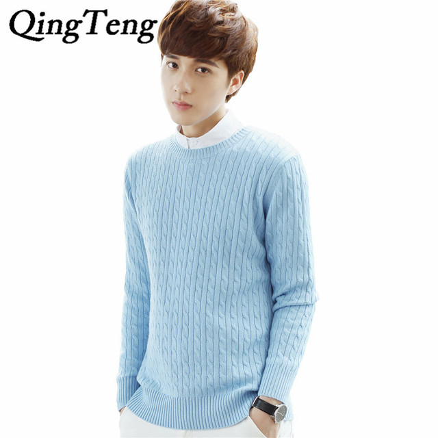 Qingteng Casual Mens Sweaters O Neck Cable Knitted Pull Sweater