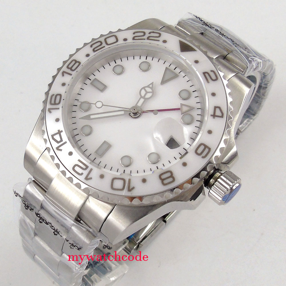 40mm bliger sterile white dial GMT sapphire glass automatic movement mens watch 40mm parnis white dial vintage automatic movement mens watch p25