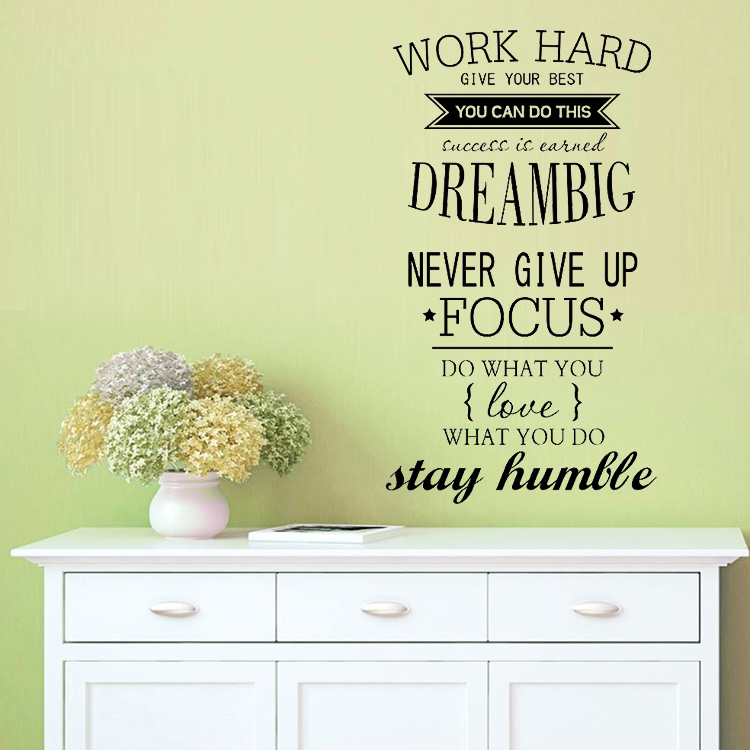 4055 работать Бесплатная доставка мотивация на стены кабинет Декор Never Give Up Dream Big вдохновляющие цитаты Wall Наклейки ...