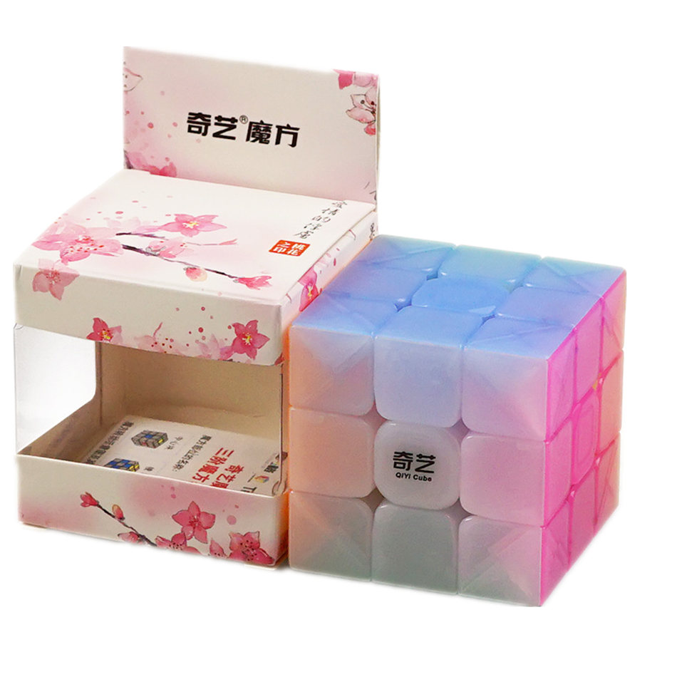 Qiyi 3x3 CUBE Jelly Color Stickerless 3x3x3 Magic Cube 3Layers Speed Cube Professional Puzzle Toys For Children Kids Gift Toy
