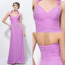 2015 verkauf Prom Kleider New A-line Halfter Rüschen Zipper-up Bodenlangen Backless Lila Kleid Lang Abendkleid Formale F269