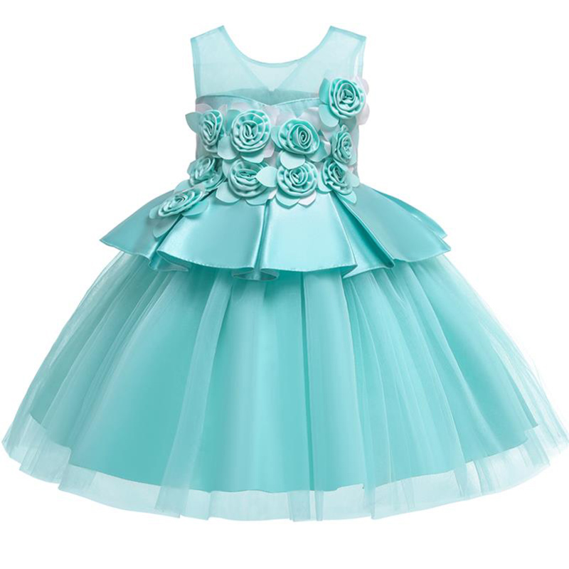 Rose applique children clothing   flower     girl     dresses   for wedding ball gown clothes first communion princess   dress   baby costume