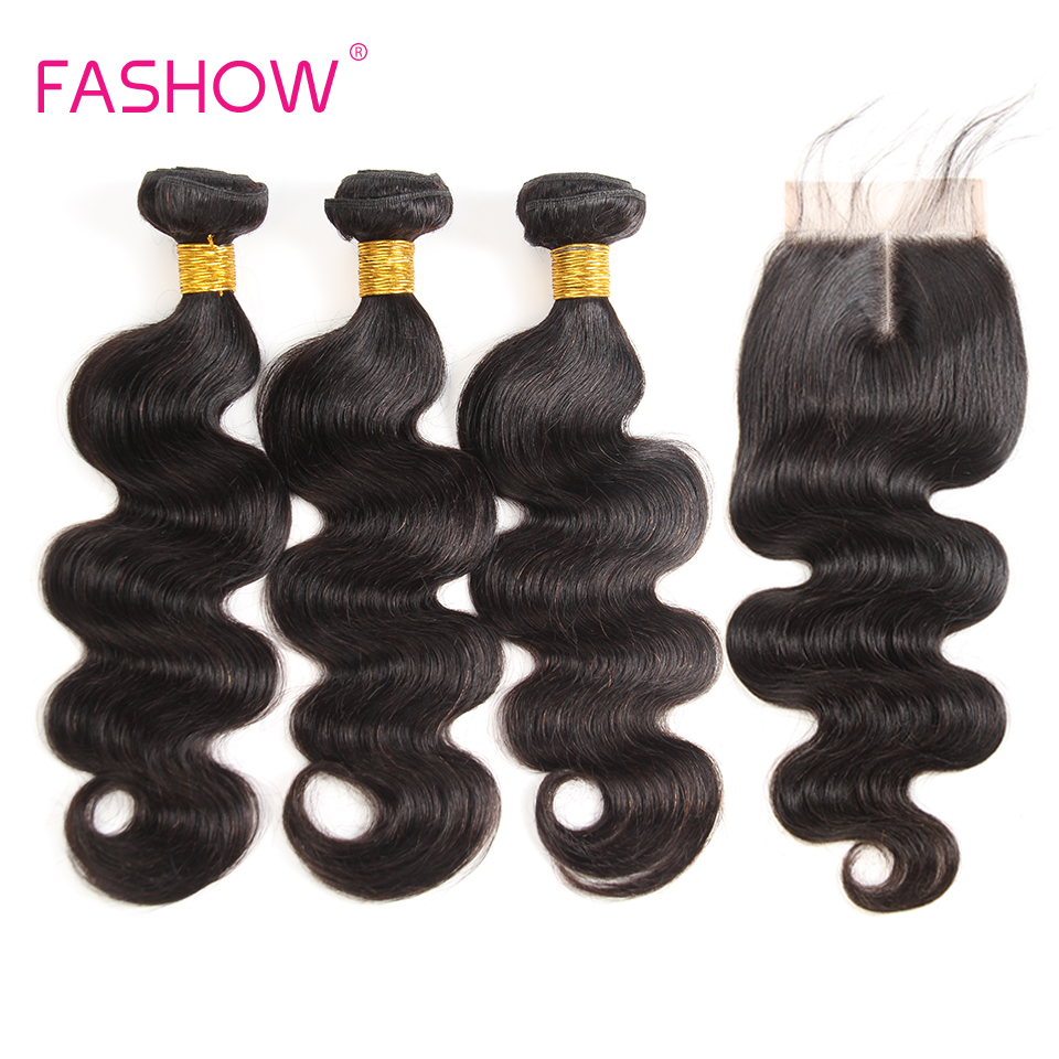 Fashow Hair Brazilian Body wave 3 Bundles With Lace Closure 100% Human Hair Bundles With Closure Natural Color Non Remy Hair