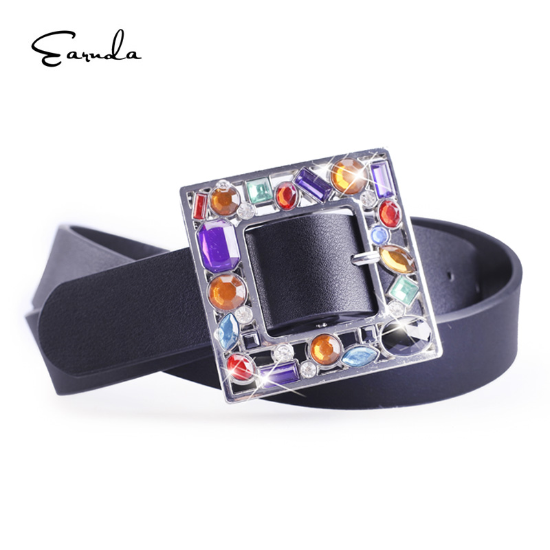 Earnda New Brand Designer Women's   Belt   With Colorful Diamond Pin Buckle Waist   Belt   Female PU Leather Style Strap For Jeans