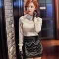 Dabuwawa свитер женский 2016 новая корейская мода кружева трикотажные тонкий теплые свитера женщин розовая кукла