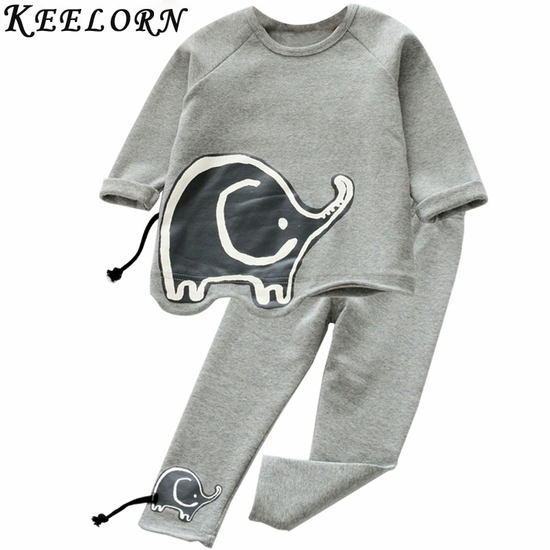 Keelorn Girls Clothing Sets 2017 New Fashion Autumn Kids Clothes Elephant patter top+pants Children Clothes For Baby Girls dhl equick ems shipping 6 sets girls clothing sets lots fashion kids clothing sets 2017 top jean pant 2pcs girls clothes sets