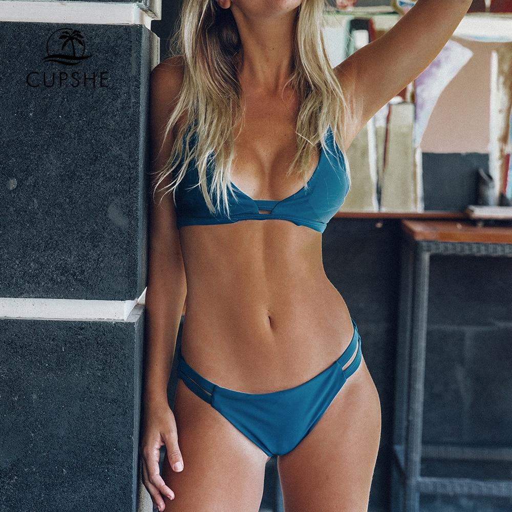 CUPSHE Blau Sea Feste Tanga Bikini Set Frauen Dreieck Bh Zwei Stücke Bademode 2019 Mädchen Strand Badeanzug Badeanzug