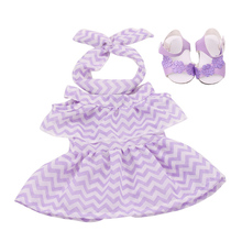 18 inch Girls doll dress Summer print gown + headband with shoes American new born skirt Baby toys fit 43 cm baby dolls c504 недорого
