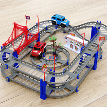 Railway Road track toy Electric racing car Model figures Multicolor viaduct overpass tracks Plastic creative toys for children