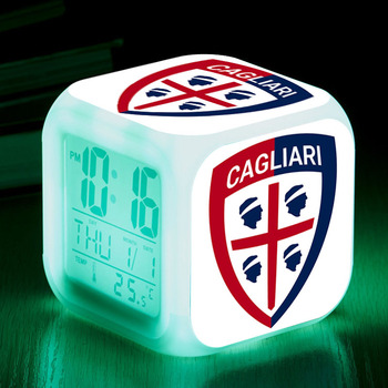 Football/Soccer Kid Bedroom Desk lamps Team Cagliari Calcio Touch Lighting Up LED Alarm Clock reloj despertador infantil Watch