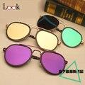 Moda Óculos De Sol Piloto Homens Colorido Espelho Óculos de Sol do Metal óculos de Sol Das Mulheres Designer De Marca Oculos UV400 Óculos Ao Ar Livre