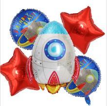 Baby birthday science party decoration cartoon astronauts rocket ship foil balloons