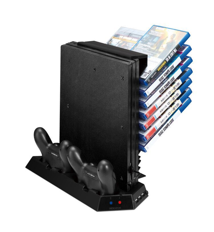2017 Vertical Stand for PS4 Pro Console- Cooling Fan Controller Charging Station with Game CD Storage and Dualshock Charger