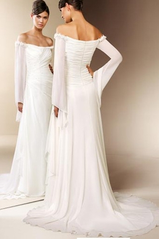 Off the Shoulder Wedding Dress with Chiffon Sleeves_Wedding ...