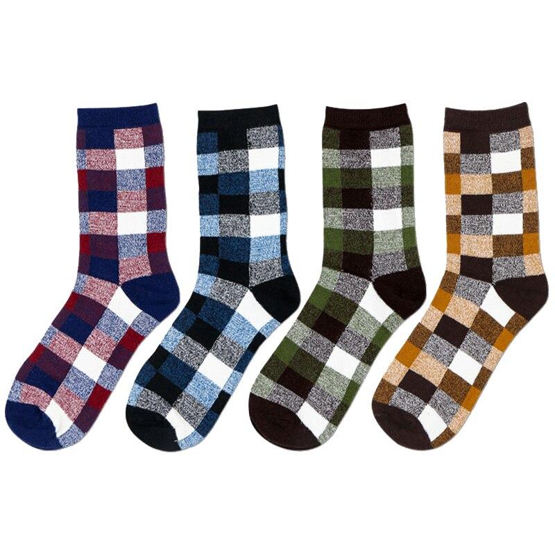 5Pairs/lot Fashion Men Happy Socks Business Socks Geometric patterns Brand Socks Men Cotton Socks Men calcetines hombre