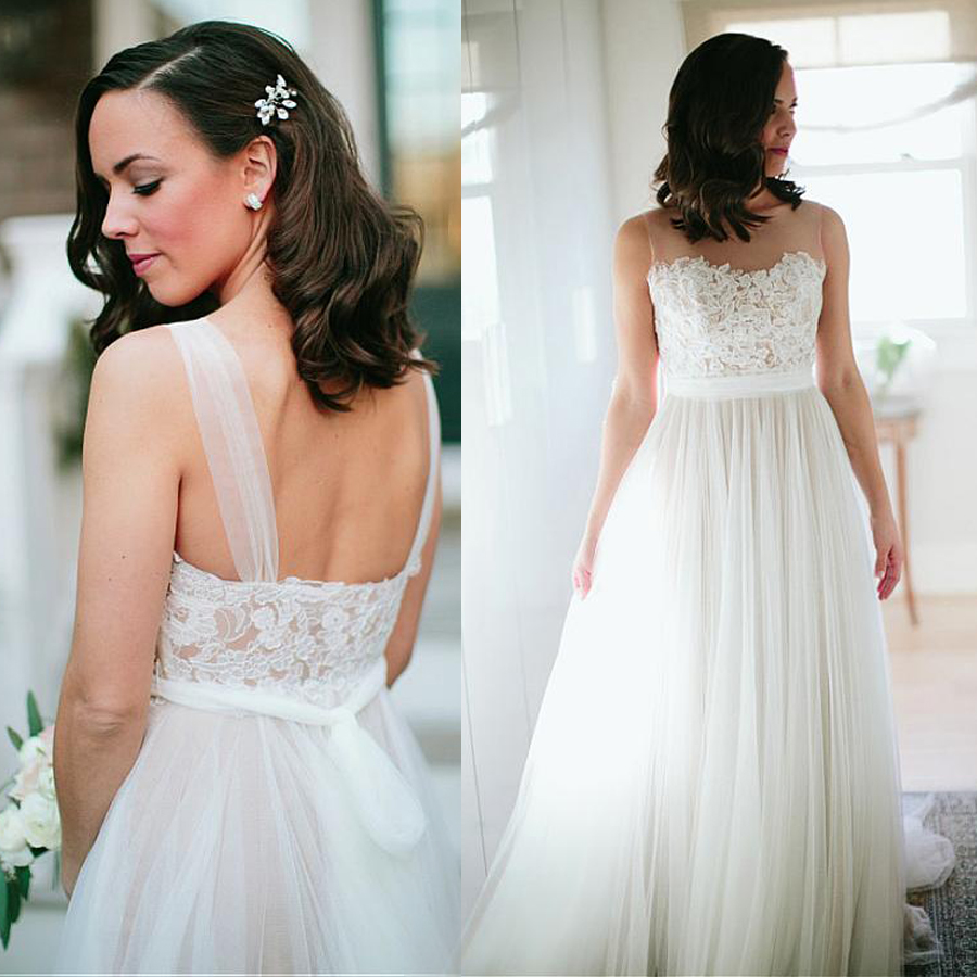Exquisite Tulle Bateau Neckline A-line Wedding Dresses With Lace Appliques See Through Elegant Tulle Bridal Dresses