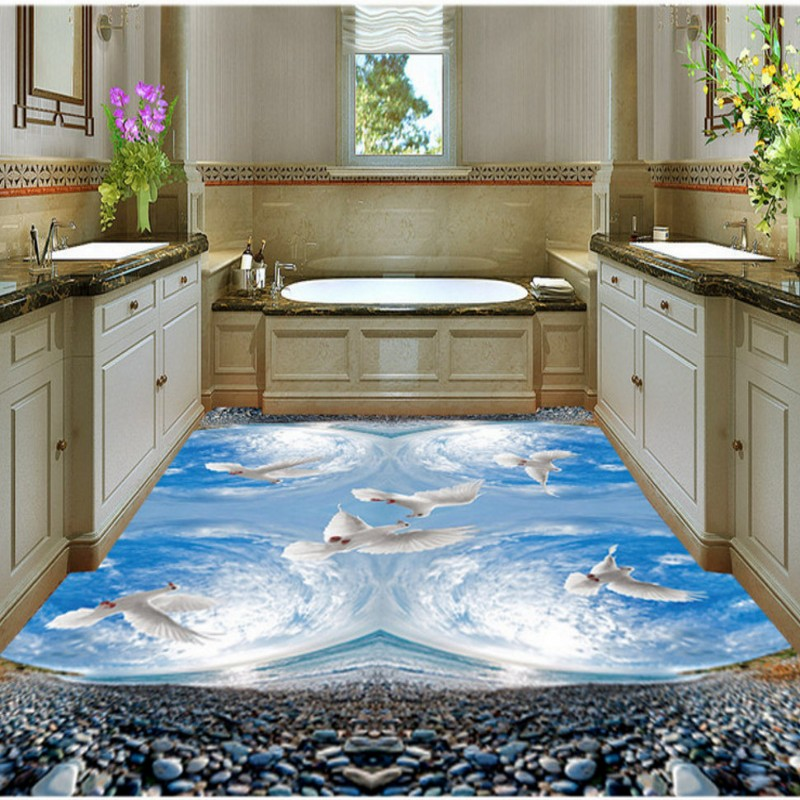Free Shipping Blue sky white pigeons high quality self - adhesive floor paste the living room custom wallpaper mural kcchstar the eye of god high quality 316 titanium steel necklaces golden blue