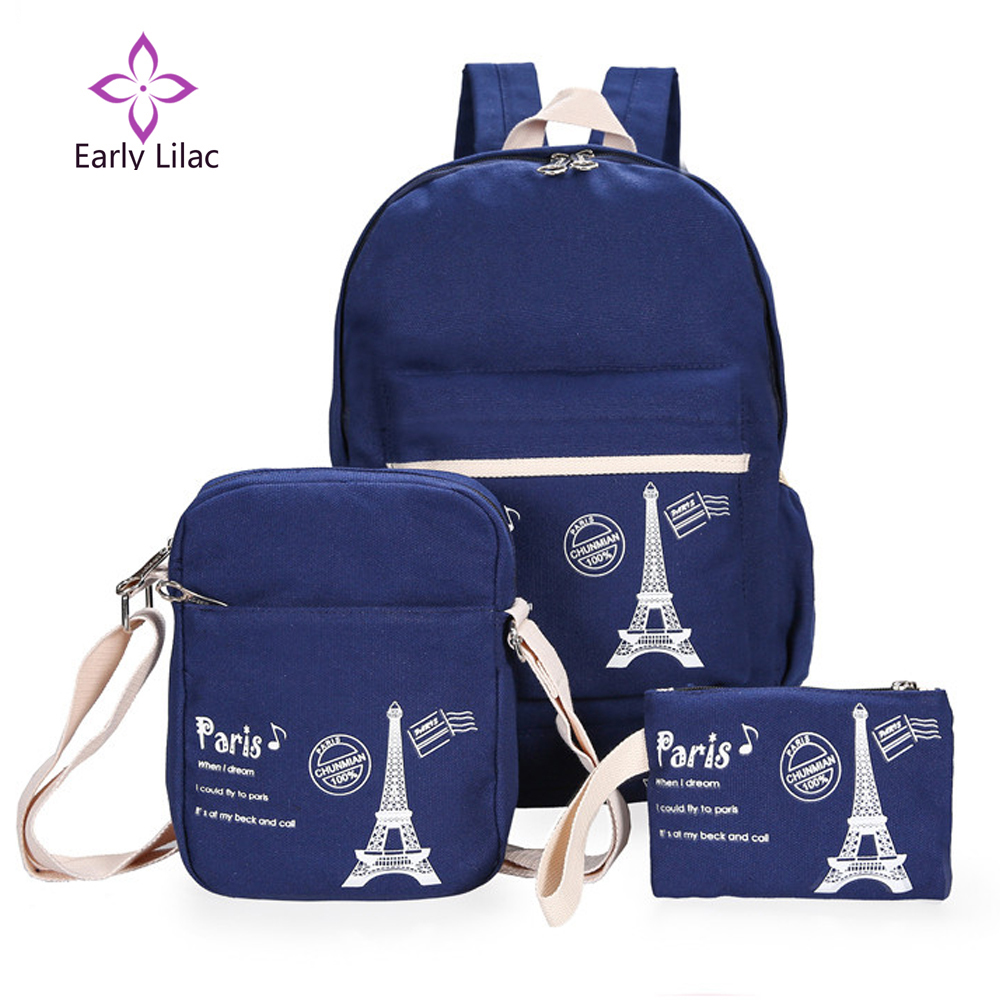 School bags online cheap - Eiffel Tower 2016 New Fashion Printing Backpack Women 3 Pieces Set Canvas School Bags For
