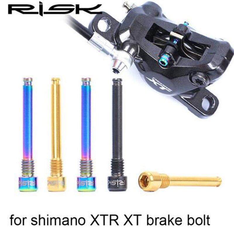 Riesgo 2 piezas bicicleta freno de disco hidráulico Bolt para Shimano Pad MTB bicicleta aleación de titanio tornillo negro oro color