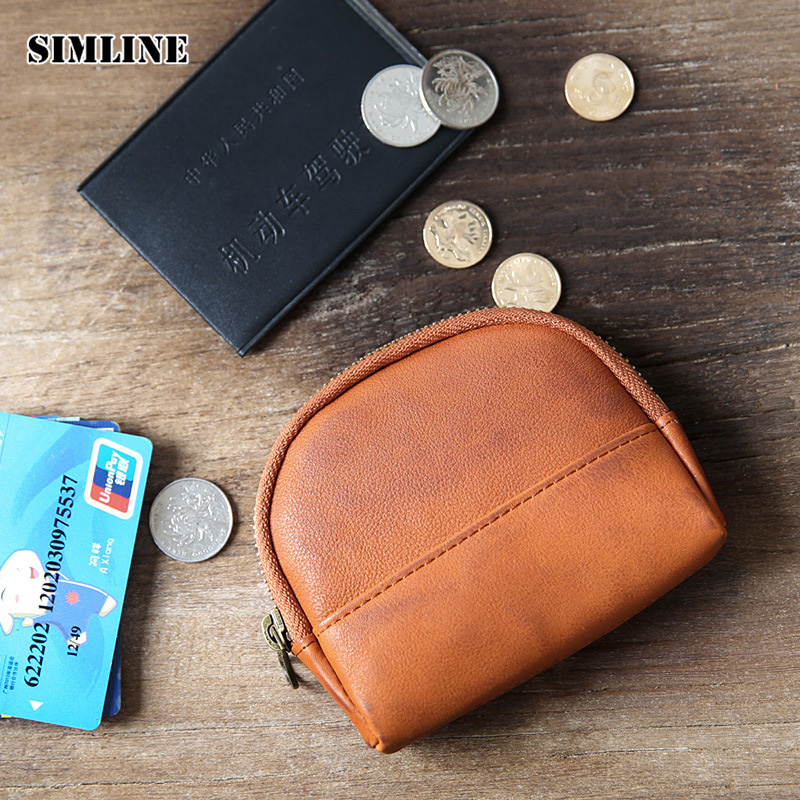 Brand High Quality Vintage Casual 100% Genuine Leather Cowhide Men Women Small Zipper Coin Purse Wallet Wallets Card Holder Case high quality men genuine leather organizer wallet vintage cowhide clasp card holder coin purse vintage carteira masculina 1011