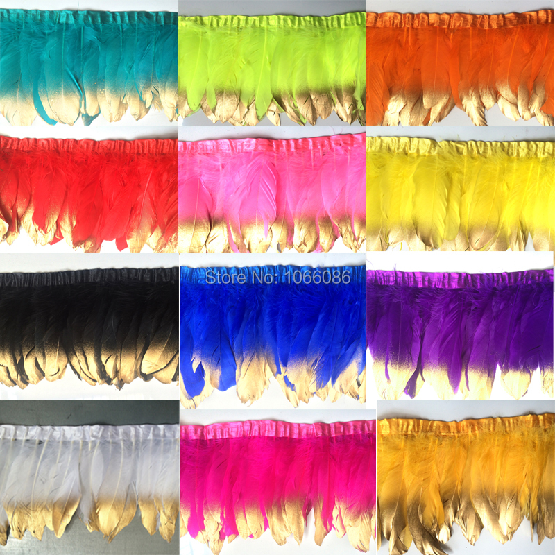 Wholesale 4yard/lot multicolor natural goose feather fringe paint gold tips Goose Feather Trims with Satin Ribbon Tape for skirt