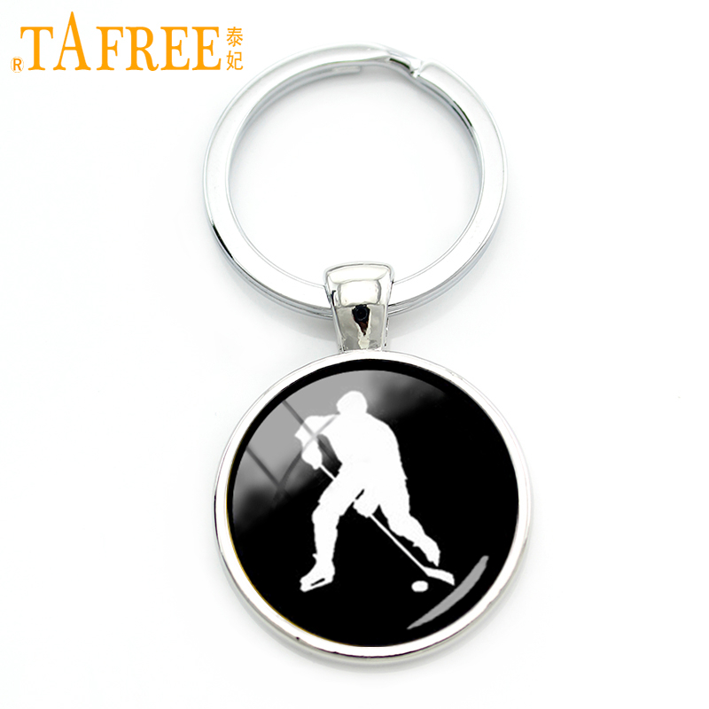 TAFREE Elegant Ice Hockey Keychain Vintage Style Hockey Players Profile Silhouette Key Chain Sports Jewelry Father's Gift KC430