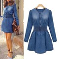 New Vintage Women Long Sleeved Slim Fit Casual Denim Jeans Party Mini Dress Blue L4
