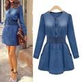 New Vintage mulheres de manga comprida Casual Slim Fit Denim Jeans festa Mini vestido azul L4