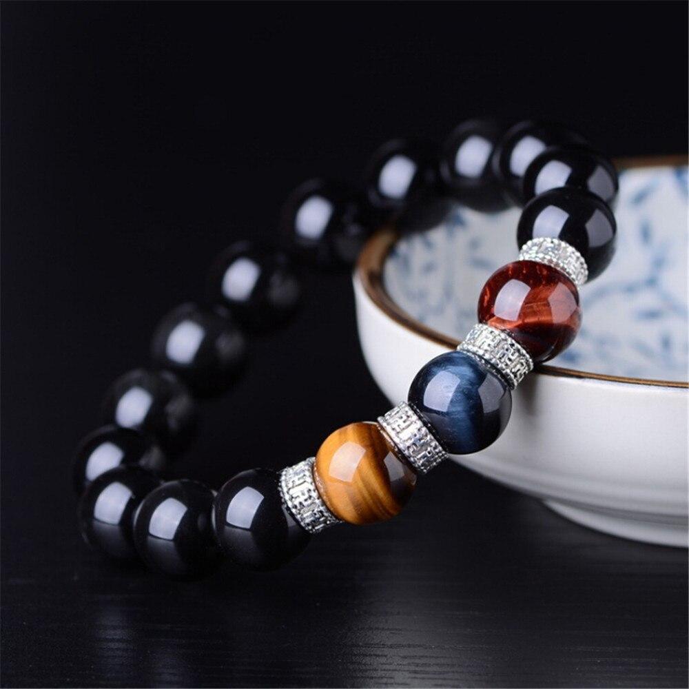 Natural Obsidian Beads Bracelet Rainbow Eye Obsidian Yellow Red Blue Tiger Eye Stone Strand Bracelets Fashion Men's Jewelry