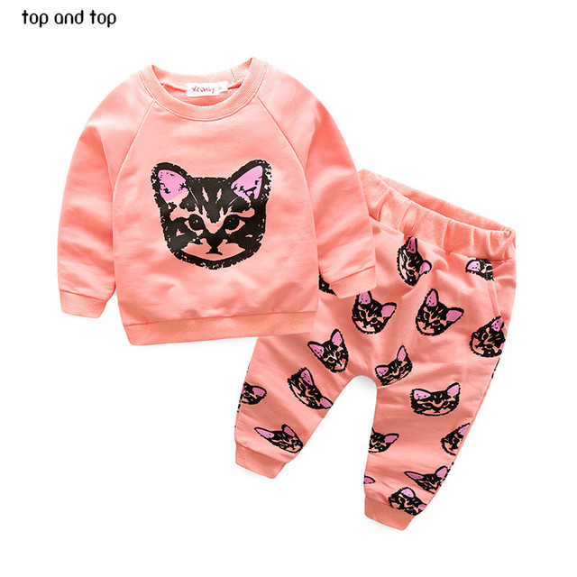 Spring style Infant clothes Clothing sets Cotton Cute Cat 2pcs(Full Sleeve + Pants) Baby girl clothes Free Shipping