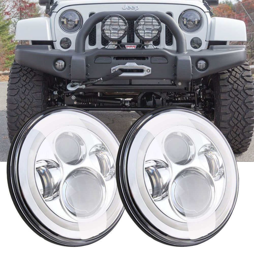 7 Inch Round 80W Hi/Lo Beam LED Headlights With Halo Ring Angel Eyes DRL For Jeep Wrangler JK TJ LJ 1997 - 2017 (DOT Approved) 6 inch led headlights eagle light hi lo beam halo ring angel eyes x drl for offroad jeep wrangler front bumper fog light