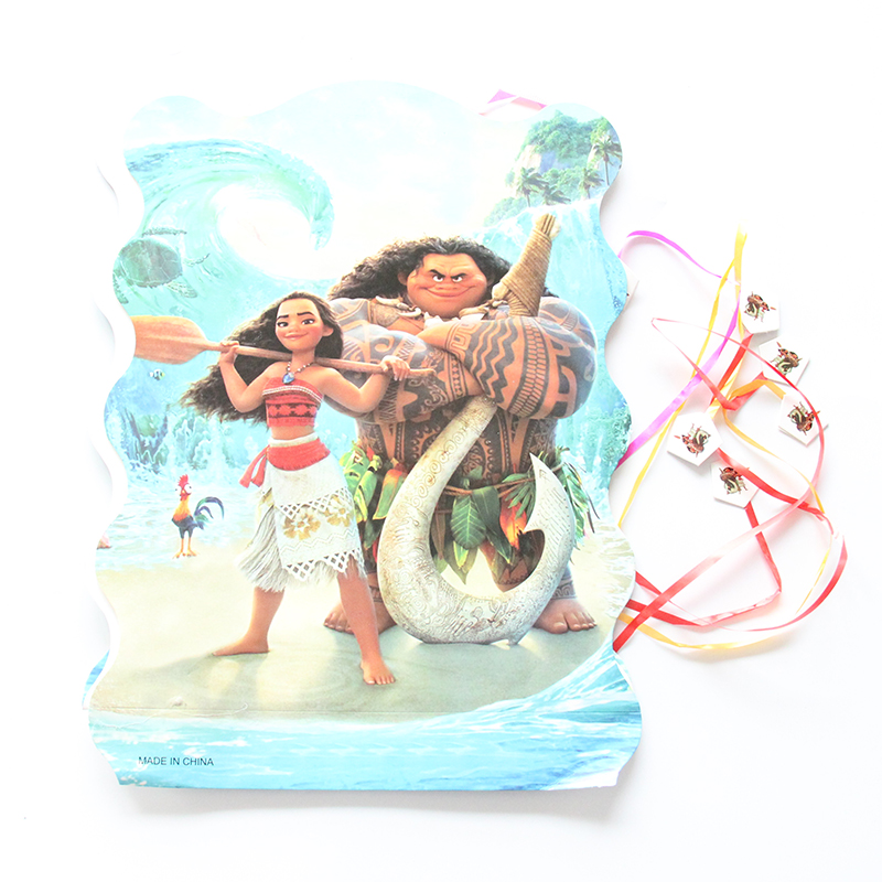 1pcs Paper Folding Pinata Moana Cartoon Design 6 People Play Game Children Birthday Party Decoration Supplies 27*49cm