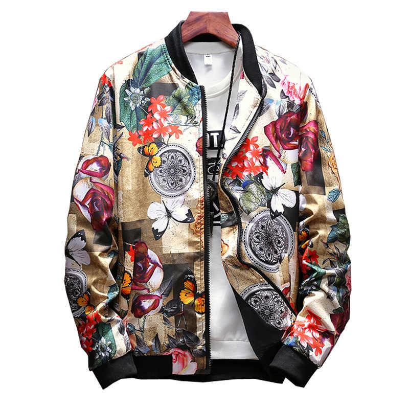 Куртка с цветочным принтом для мужчин; повседневные куртки с цветочным принтом; Новинка; куртка-бомбер с воротником-стойкой и цветочным принтом; бейсбольная куртка в стиле хип-хоп; уличная одежда; LA459