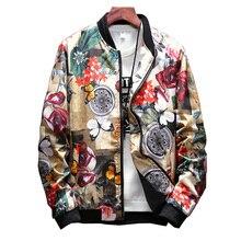 купить Floral Jacket Men Flowers Print Casual Jackets New Stand Collar Floral Bomber Jackets Baseball Jacket Hip Hop Streetwear,LA459 дешево
