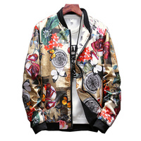 Floral Jacket Men Flowers Print Casual Jackets New Stand Collar Floral Bomber Jackets Baseball Jacket Hip Hop Streetwear,LA459