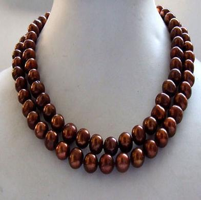 Elegant double strands 8 9 mm south sea chocolate pearl necklace 18 inch 925 silver clasp