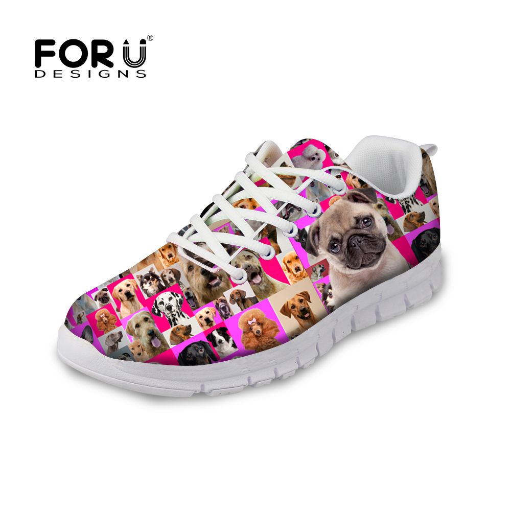 FORUDESIGNS Fashion Women Shoes Pink Pet Dog Collages Printed Women's Lace Up Flat Shoes Autumn Casual Light Footwear Lady Flats pet attire sparkles dog collar 8 12in pink