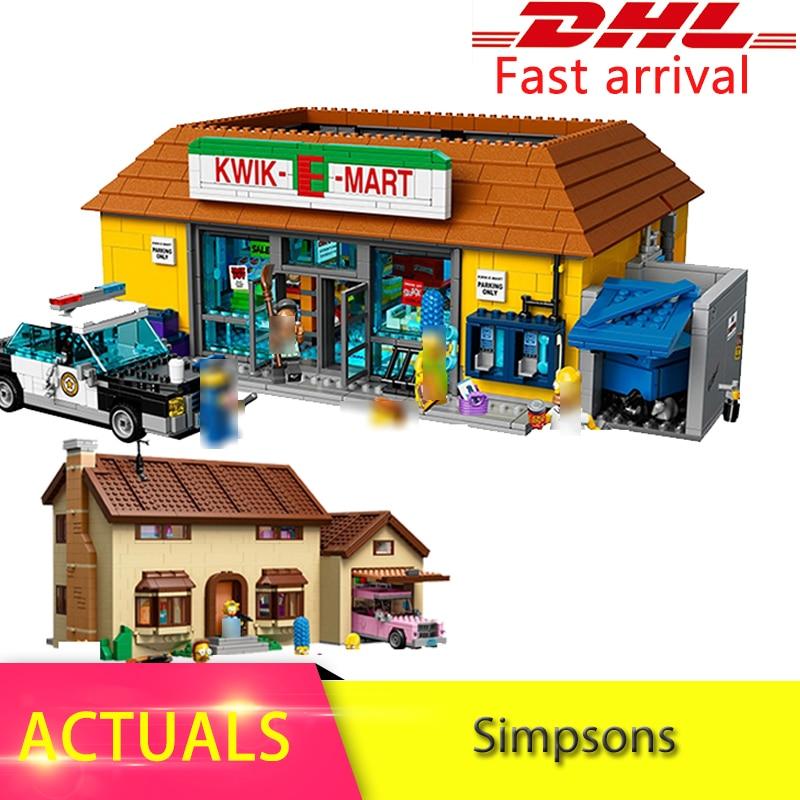 Lepin 16004 16005 316pcs  Simpsons Bart Homer the Kwik-E-Mart Model Building Blocks Bricks Toys for children Christmas 71016 neue lepin 16004 2232 stucke die simpsons action modell baustein ziegel kompatibel 71016 fur kinder geschenk