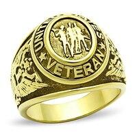 미국 군사 육군 디자인 반지 남여 남성 패션 보석 베테랑 오목 단어 고품질의 스테인레스 스틸 클래식 남자 반지