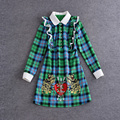 High Quality 2016 Autumn Newest Casual Peter Pan Collar Full Sleevel Ruffles Green Plaid Embroidery Silm Above Knee Dress Women