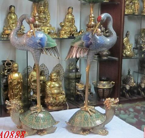 Copper Crafts Brass decoration Decorated Regius 100% 24K GOLD BRONZE Cloisonne Crowned Crane Dragon Turtle Candlestick
