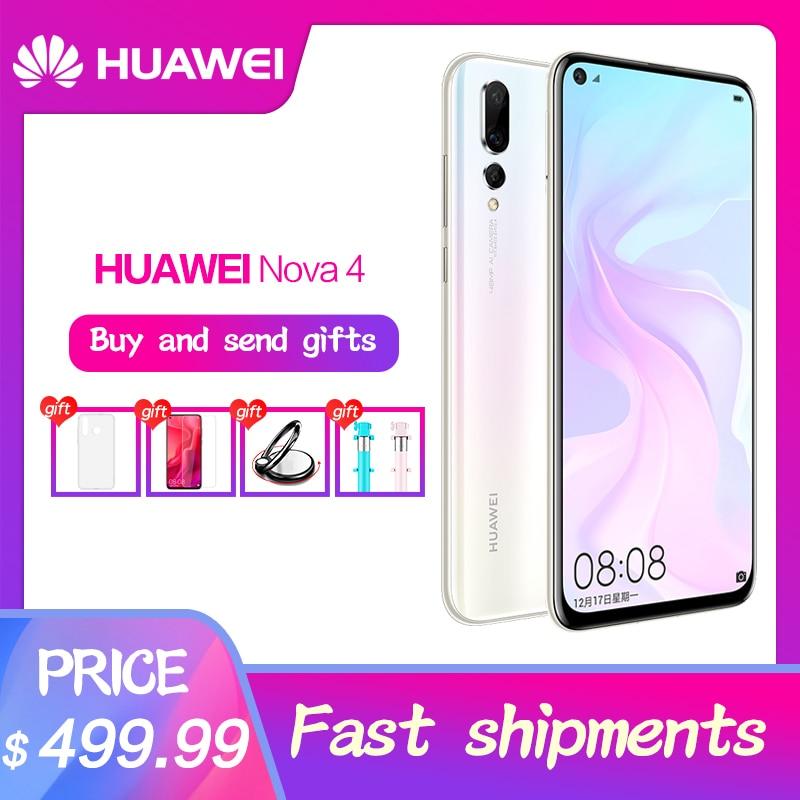 Smartphone d'origine HUAWEI nova 4 6.4 pouces plein écran nova 4 Kirin 970 Octa Core téléphone 8G RAM Micro-Intelligent i7 Android 9.0