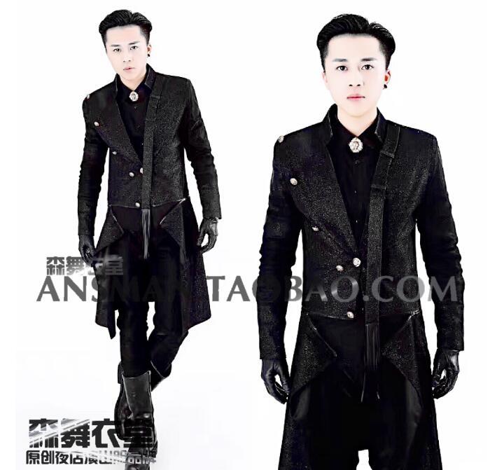 S-5XL 2019 hommes discothèque chanteur vêtements DG DJ sur mesureCostumes de costume noir super flash longue veste de costume détachable