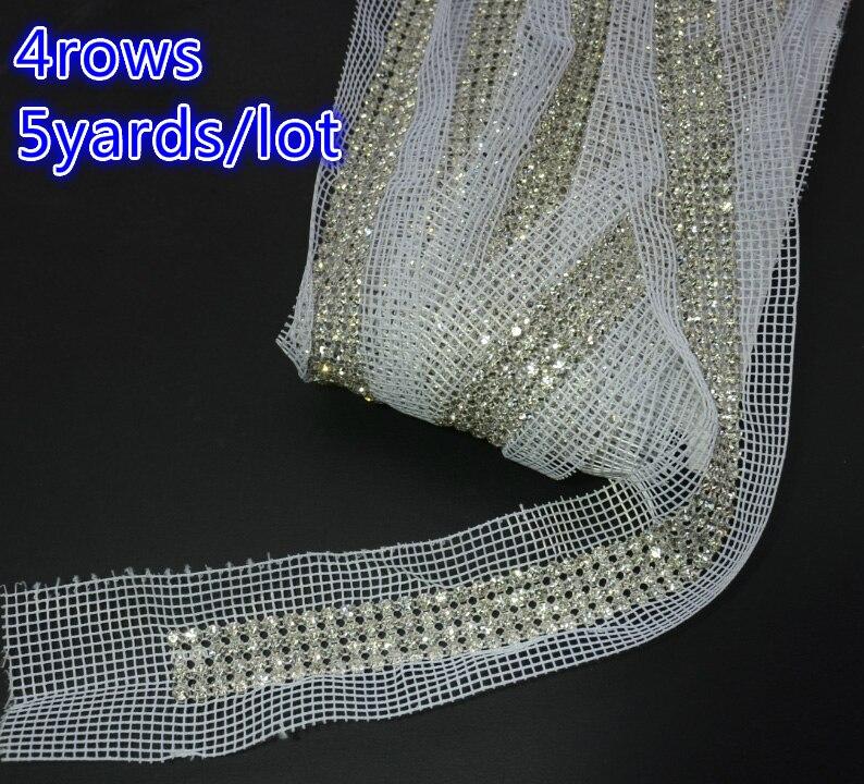 Бесплатный shippmen 4 Строк горный хрусталь сетки обрезки, 5 ярдов/серия, одежда сумки свадебный торт декоративные полосы, шить на ткани цепи