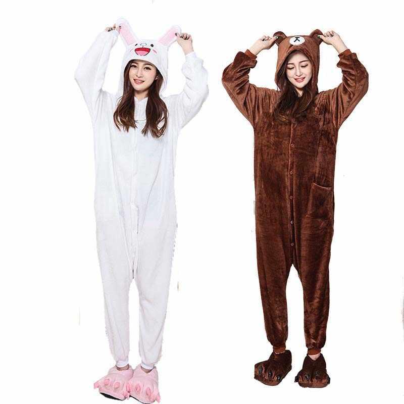 25a9d2898b Soft Couple Kigurumi Brown Bear Onesie For Adult Animal Cony Bunny Costume  Cartoon Pajamas Funny Cosplay