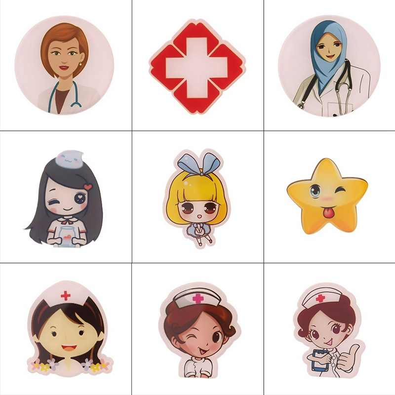 Cartoon Badges Free Shipping Doctors And Nurse Icons Acrylic Brooch For Clothes Backpack White Angel Decoration Pins