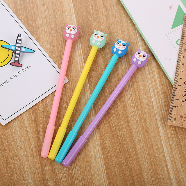 40 adet karikatür kırtasiye baykuş nötr kalem yaratıcı güzel öğrenci kalem ofis malzemeleri imza kalem