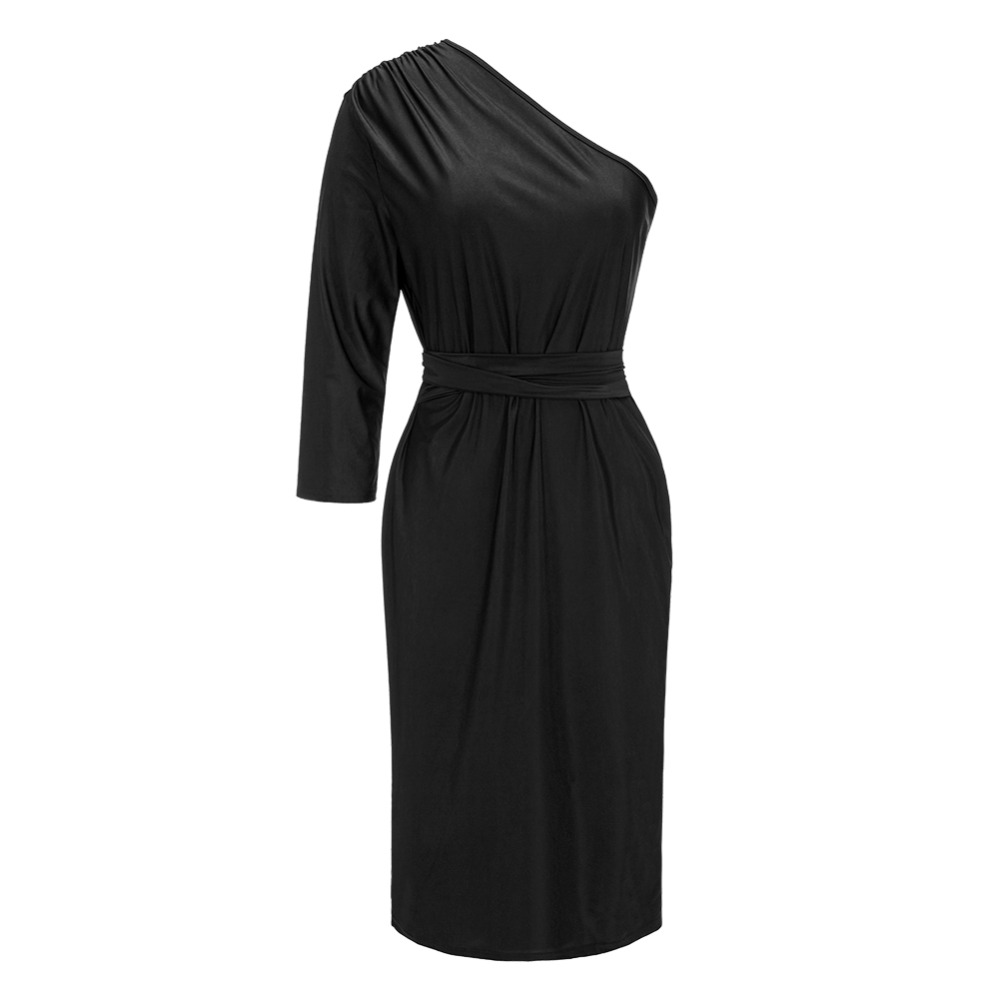 Jocelyn Katrina Brand Sexy One Shoulder Long Sleeve Black Midi Dress 2018 Graceful Slim Sashes Knee Length Evening Party Dress