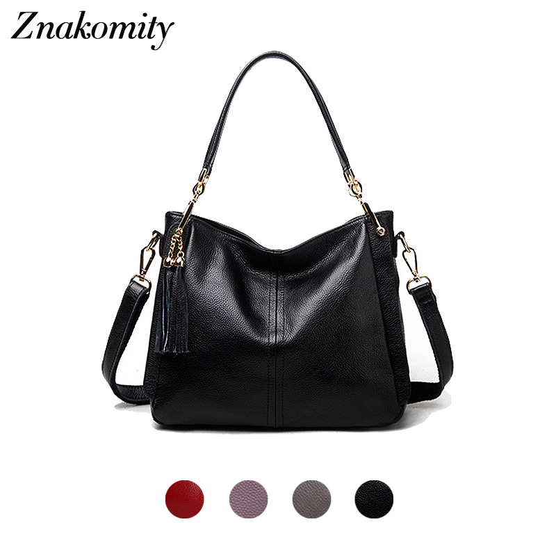 все цены на Znakomity fashion black women handbag genuine leather bag women leather bag shoulder bags for woman 2018 handbags with tassel онлайн
